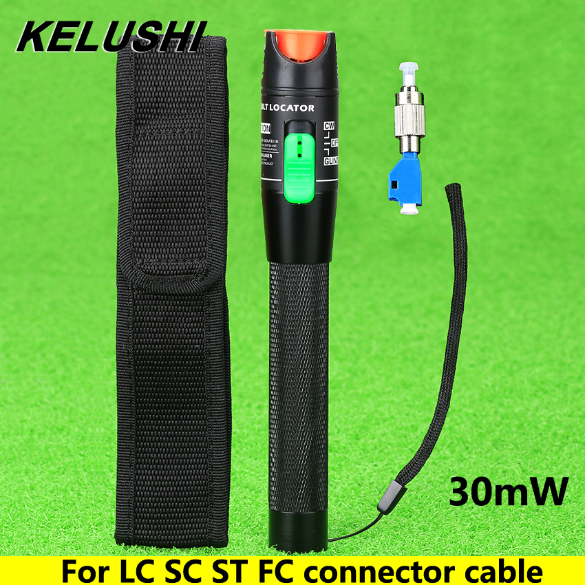 KELUSHI  Visual Fault Locator 30mW Detector FC Male To LC Female Adapter LC/SC/ST/FC Connector Cable Optical Fiber Tester