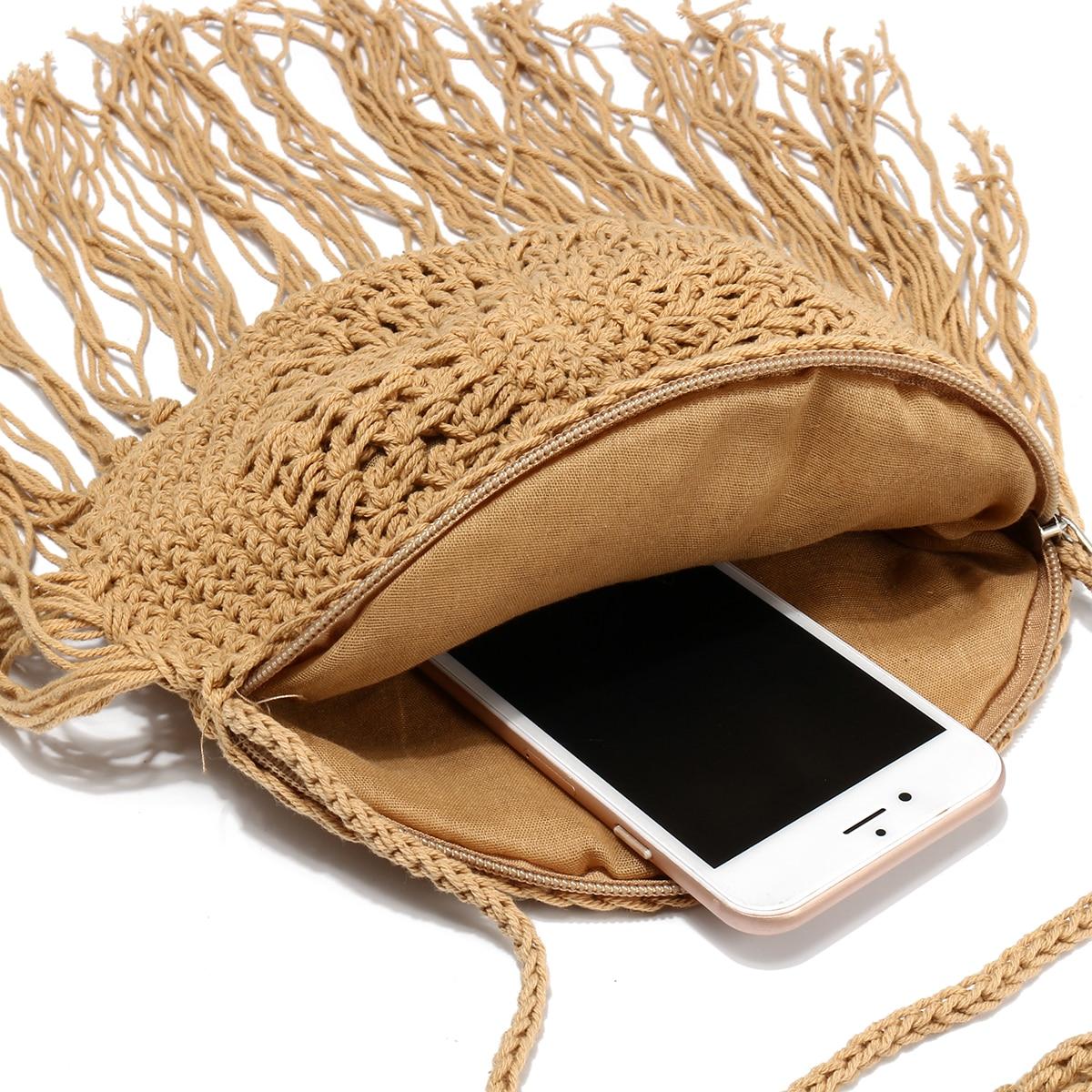 Round Straw Bag with Fringe Tassel 4