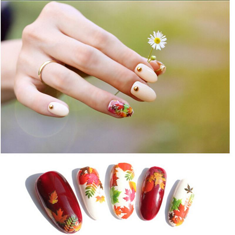 Newest Maple Leaf Water Women Nail Art Stickers Transfer Manicure ...
