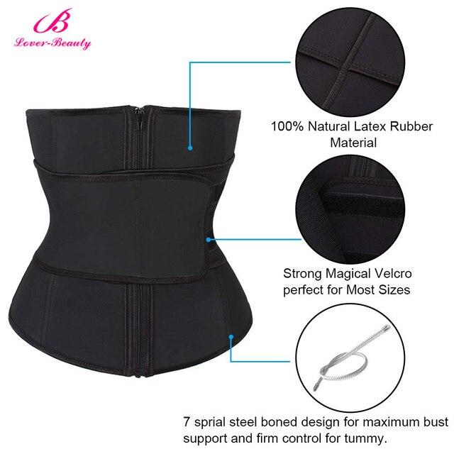 Lover Beauty Abdominal Belt High Compression Zipper Plus Size Latex Waist Cincher Corset Underbust Body Sweat Waist Trainer C 3