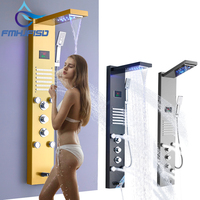LCD Ditital Display Shower Panel Bath Shower Towel Column with Body Massage Jets Free Shipping Towel Shower Column