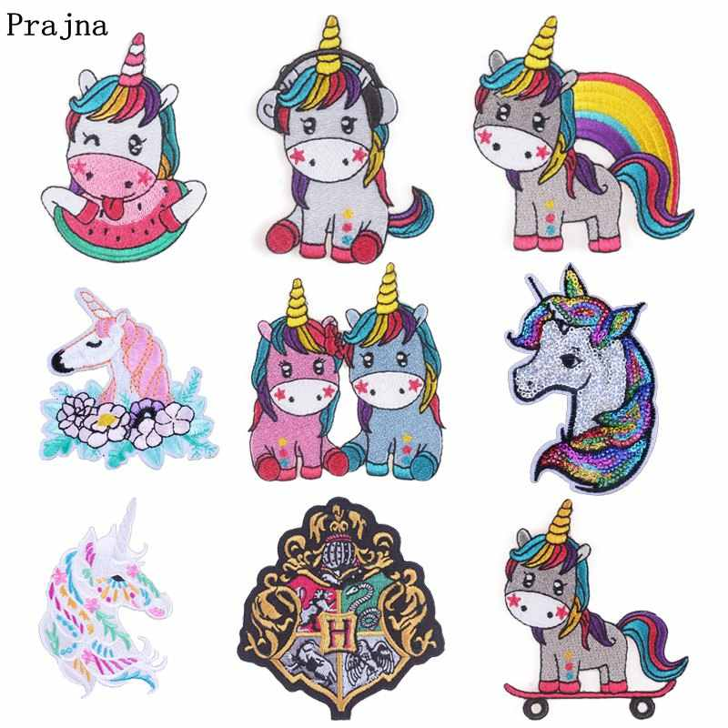 Prajna Hippie Unicorn Iron On Patches Sparta Sticker Harry Potter Cartoon  Embroidered Badges For Clothes Applique Accessories