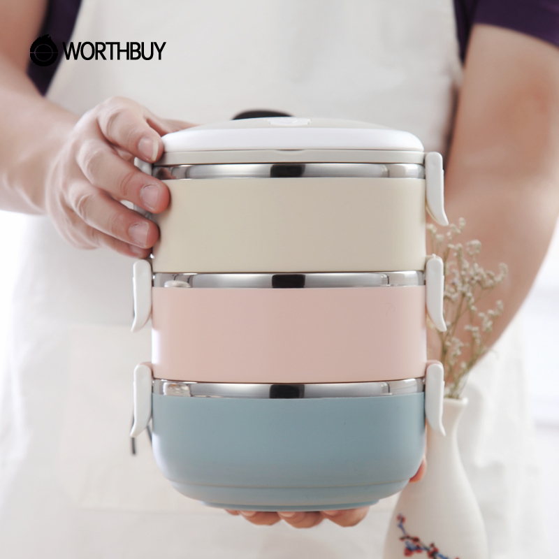 WORTHBUY Farbverlauf Japanische Lunchbox Thermische Für Lebensmittel Bento Box Edelstahl LunchBox Für Kinder Portable Picknick Schule