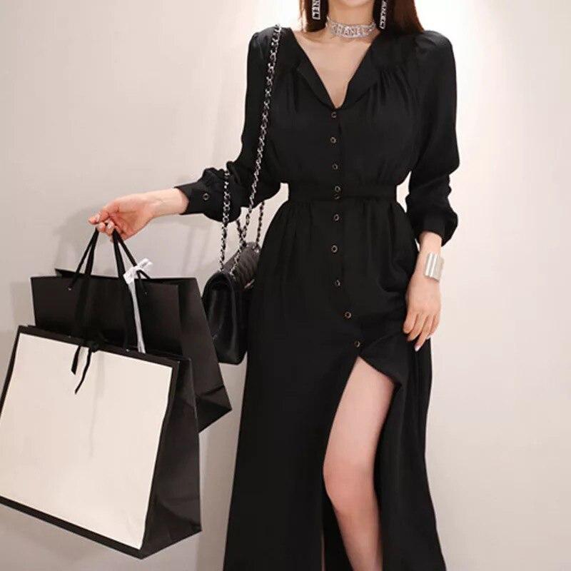 Mode femmes élégant confortable en mousseline de soie sexy robe noire nouveauté tempérament OL grande taille haute qualité fête robe ligne