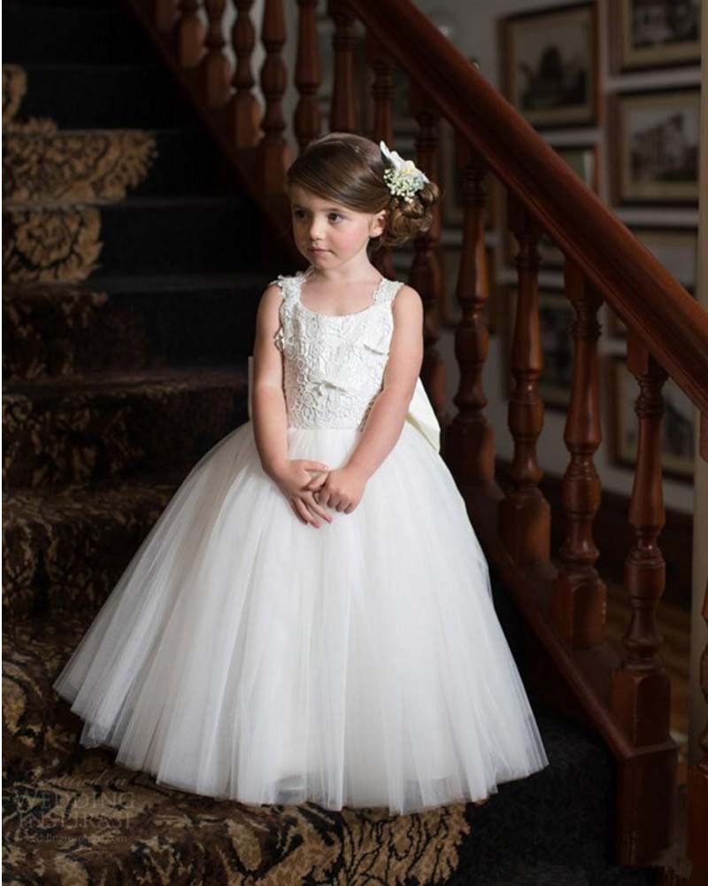 Pretty Ball Gown with Bowknow Back Lace Tulle   Flower     Girl     Dresses   for Wedding Party First Communion Custom Made