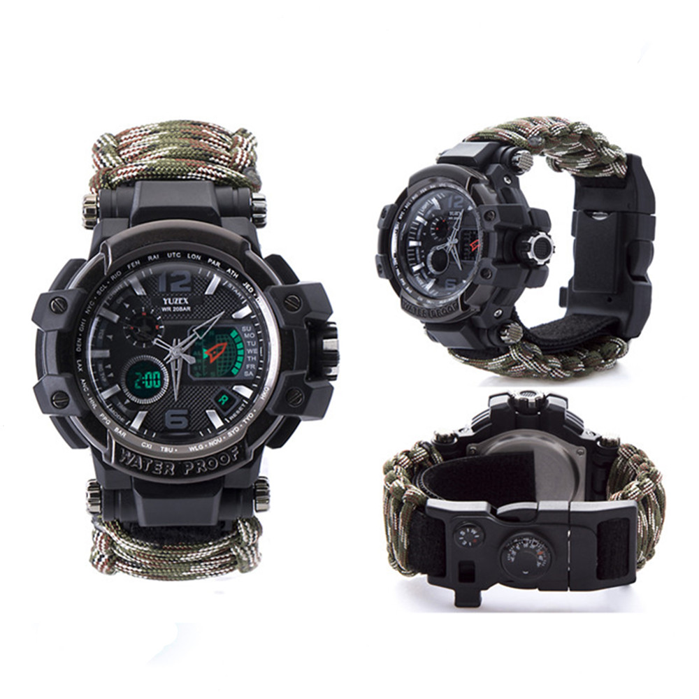 新的户外生存手表手链多功能防水50M手表男士女士露营远足军事战术露营工具(2)