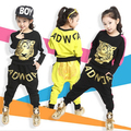 Наборы девушки Одежды 3-11Y детей костюмы, весна Осень Новый Детская одежда набор Тигр Печати С Длинным Рукавом Футболка и Шаровары