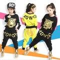 Ropa de las muchachas Fija 3-11Y niños trajes, primavera Otoño Nueva ropa de Los Cabritos fijaron Tigre de Impresión de Manga Larga Camiseta y Pantalones de Harén
