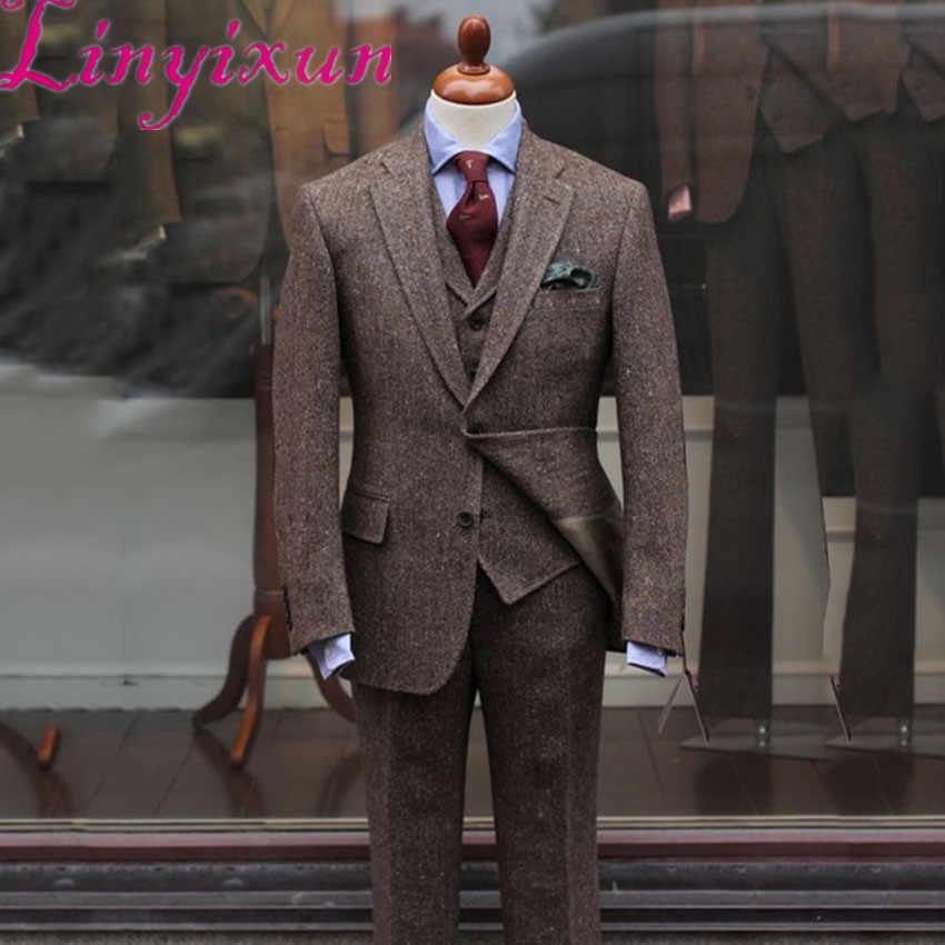 Linyixun 2019 últimos pantalones de abrigo diseños de trajes de Tweed marrón hombres Slim Fit Formal boda hombres traje 3 piezas esmoquin novio terno Mascu