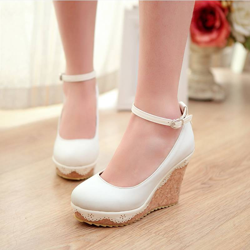 ФОТО Women Pumps 2016 Concise Style Women Shoes Euro Size 34-39 Round Toe Platform Shoes Ladies Ankle Strap High Heels Party Pumps