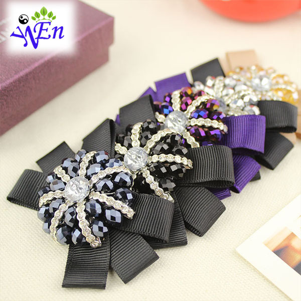 5 colors 1 pair ribbon bowtie shoes clip , glass beads shoe flower fabric  buckle charm  N578