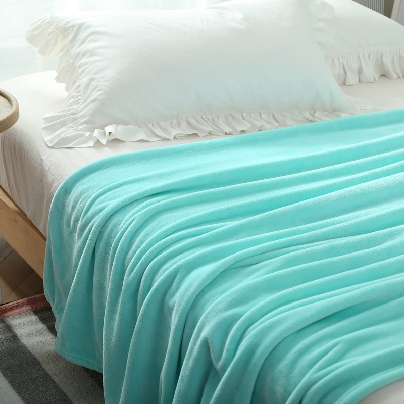 Light Blue Fleece Blanket On The Bed Upgraded Flannel