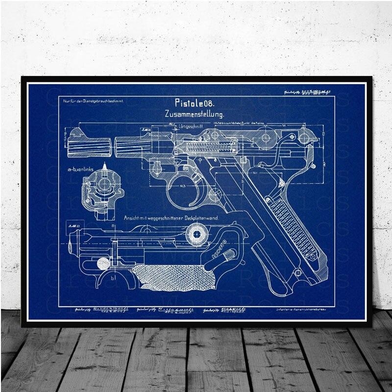 Постер и принты Luger Pistol патентная схема пистолета Современная живопись художественная живопись настенные картины для гостиной домашний декор - Цвет: Белый