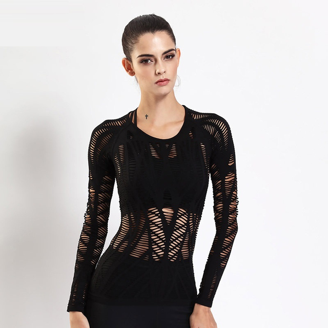 2017 New Women Long Sleeve T Shirt Fitness Sporting Black Tops Tee Quick Dry Backside Hollow Sexy Women T-Shirts