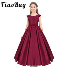 Tiaobug באורך רצפת פרח בנות שמלת סאטן פרע טוס שרוולים Bowknot בנות ערב לנשף ארוך יום הולדת נסיכת מפלגה שמלה