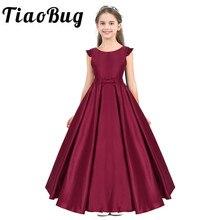 Tiaobug długość podłogi kwiat dziewczyny sukienka satynowa potargane rękawy muchowe Bowknot dziewczyny wieczór balu długie urodziny księżniczka sukienek