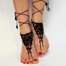 Barefoot Sandals Anklet Shoes Foot-Jewelry Lace Crochet Beach-Accessories Victorian Wedding