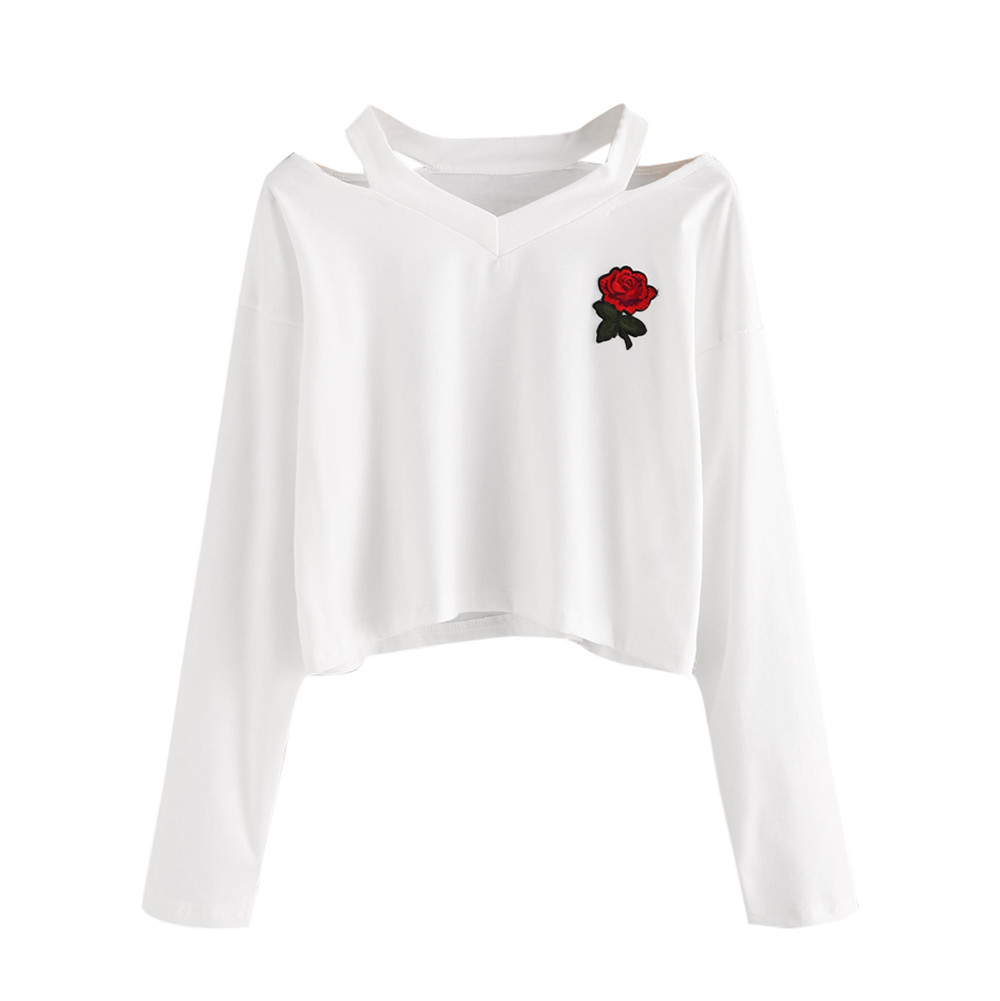 New Coming Lovely Fashion Womens Long Sleeve Sweatshirt Rose Print Causal Tops Blouse embroiderydrop shopping