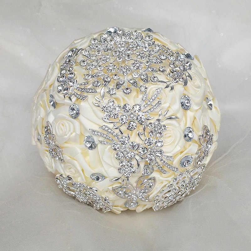 Pabrik Kustom Cantik Penuh Kristal Bros Pengantin Pernikahan Karangan Bunga Gading Mawar Sutra Berlian Buatan Bunga Karangan Bunga W124