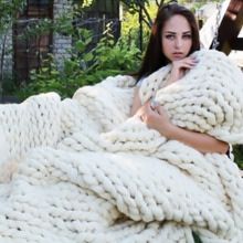 Soft Thick Line Giant Yarn Knitted Blanket Hand Weaving Photography Props Blankets CrochetLlinen Knitting