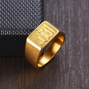 Image 2 - Bague Signet Allah islamique pour hommes, en acier inoxydable, bijou de mode carrée en couleur or Shahada arabe