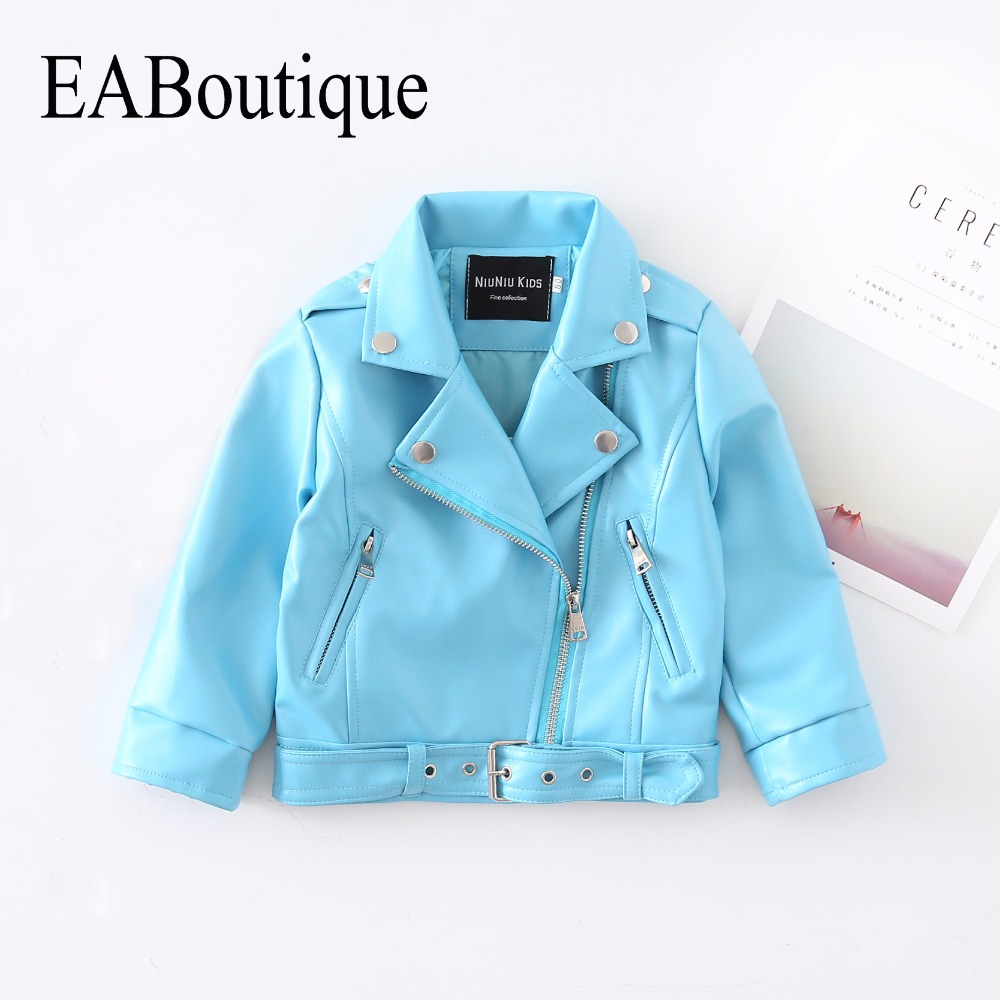EABoutique Rock Fashion winter Childrens' jacket Sky Blue Leather jacket for girls high quanlity long sleeve girls coat