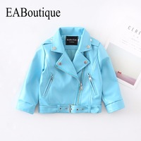 EABoutique Rock Fashion Winter Childrens Jacket Sky Blue Leather Jacket For Girls High Quanlity Long Sleeve