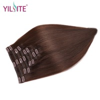 YILITE Hair Double Drawn Remy Clips in Human Hair Extensions, 18inch Dark Brown Clips in Malaysain Straight Hair Extension