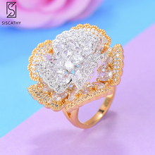 SISCATHY Charms Adjustable Open Rings Trendy full Cubic Zirconia Flower Women Ladies Girl Ring Party Fashion Jewelry Accessories