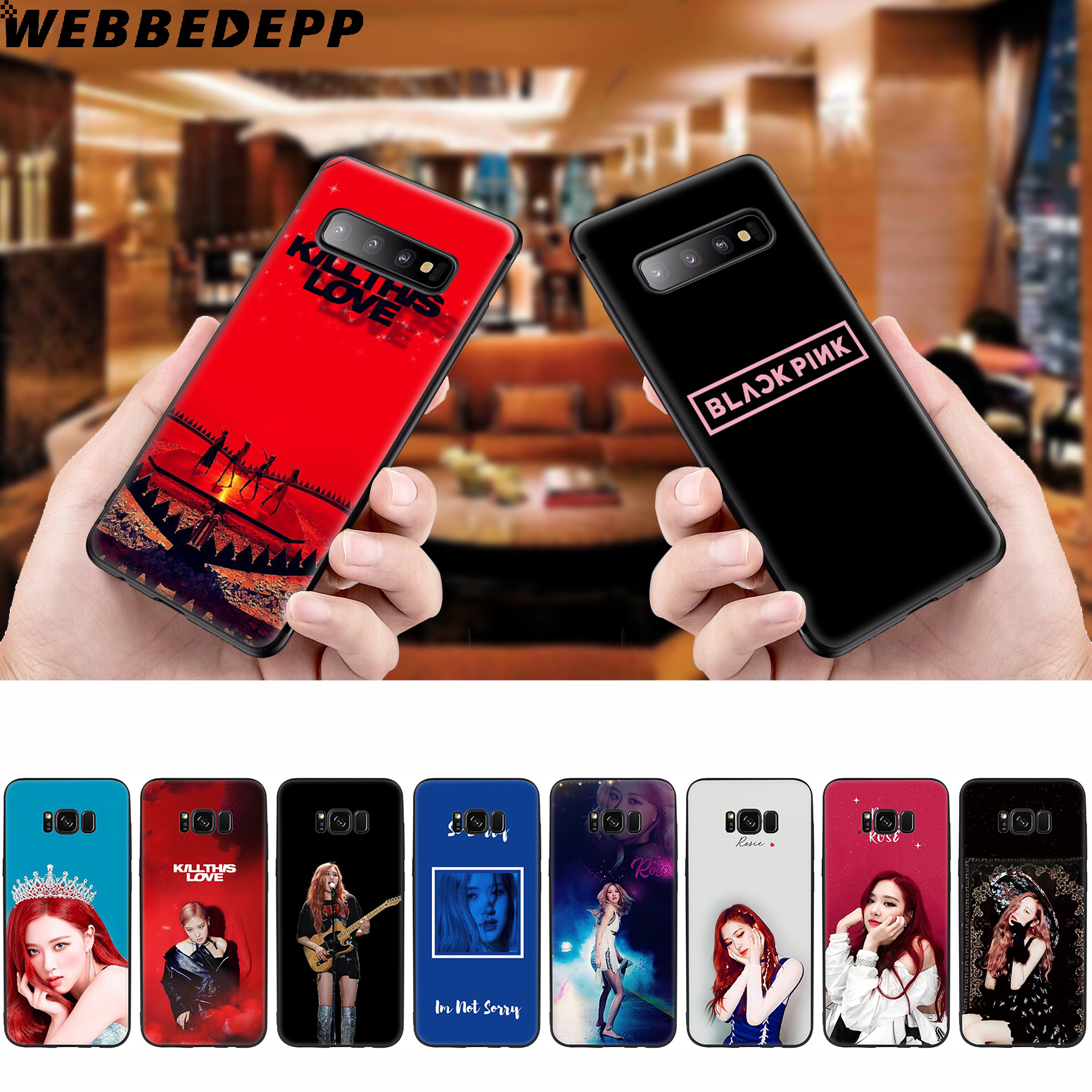 WEBBEDEPP Blackpink Rose <font><b>Kpop</b></font> Soft Case for <font><b>Samsung</b></font> Galaxy S10 S10e S9 S8 <font><b>Plus</b></font> S7 S6 Edge S9 <font><b>Plus</b></font> & <font><b>J6</b></font> 2018 Note 10 <font><b>Plus</b></font> 9 8 image