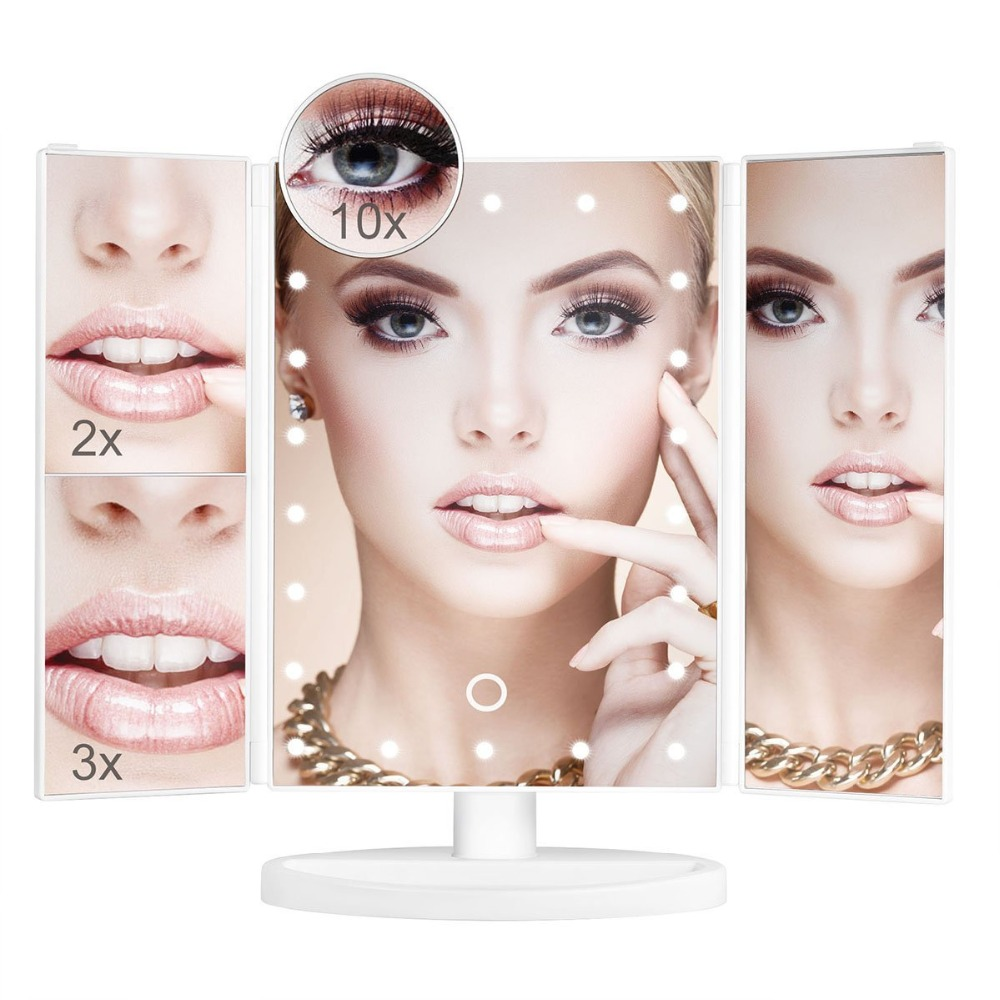 Vanity Makeup Mirror 22 LED Lighted Touch Screen 1X/2X/3X/10X Magnification Folding Adjustable table vanity led mirror