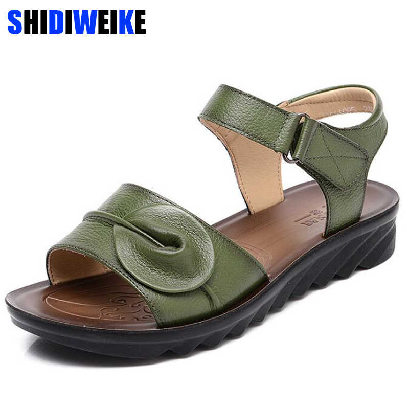 bc1b7a8b99c28 Big Size 34-43 Summer Women Genuine Leather Sandals Vintage Ladies Flat  Sandials Ankle Strap