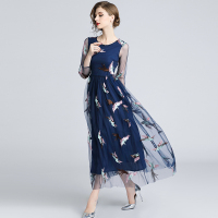 Runway Design Tulle Lace Vestidos Verano Gauze Embroidery Phoenix Dress Elegant Women Clothes 2018 Summer Autumn Blue Long Dress