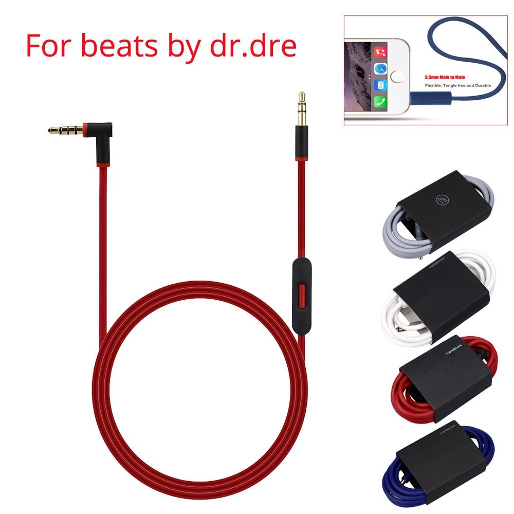 Fio audio do cabo do cabo da substituição de 3.5mm jack 3.5mm jack do cabo de aux 3.5mm com microfone para batidas por auscultadores do dr dre