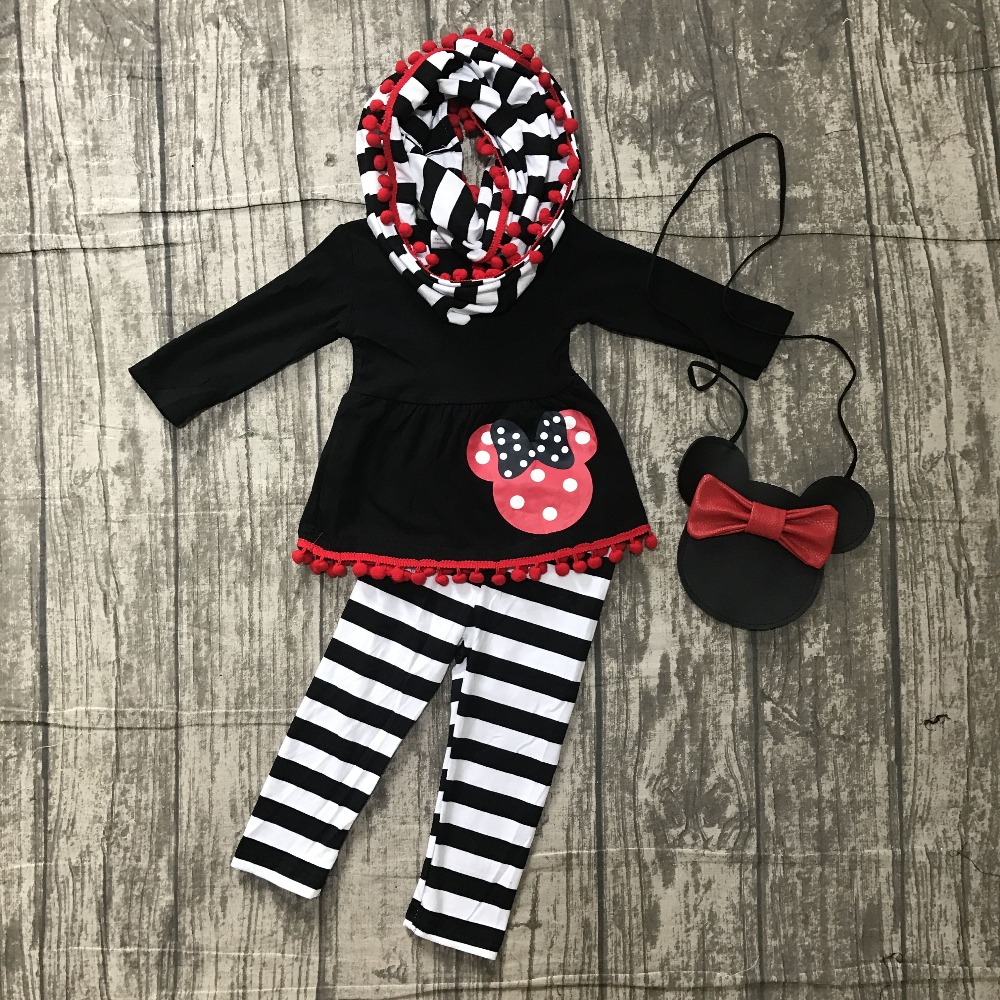 new FALL/Winter baby girls outfits 3 pieces scarf black stripe top mouse pom pom pant boutique children clothes match purse kids zutano unisex baby candy stripe pant