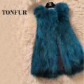 Genuine Fox Fur Vest Nature Women Fox Fur Gilet Factory Custom big size Wholesale Fur Waistcoat FP872