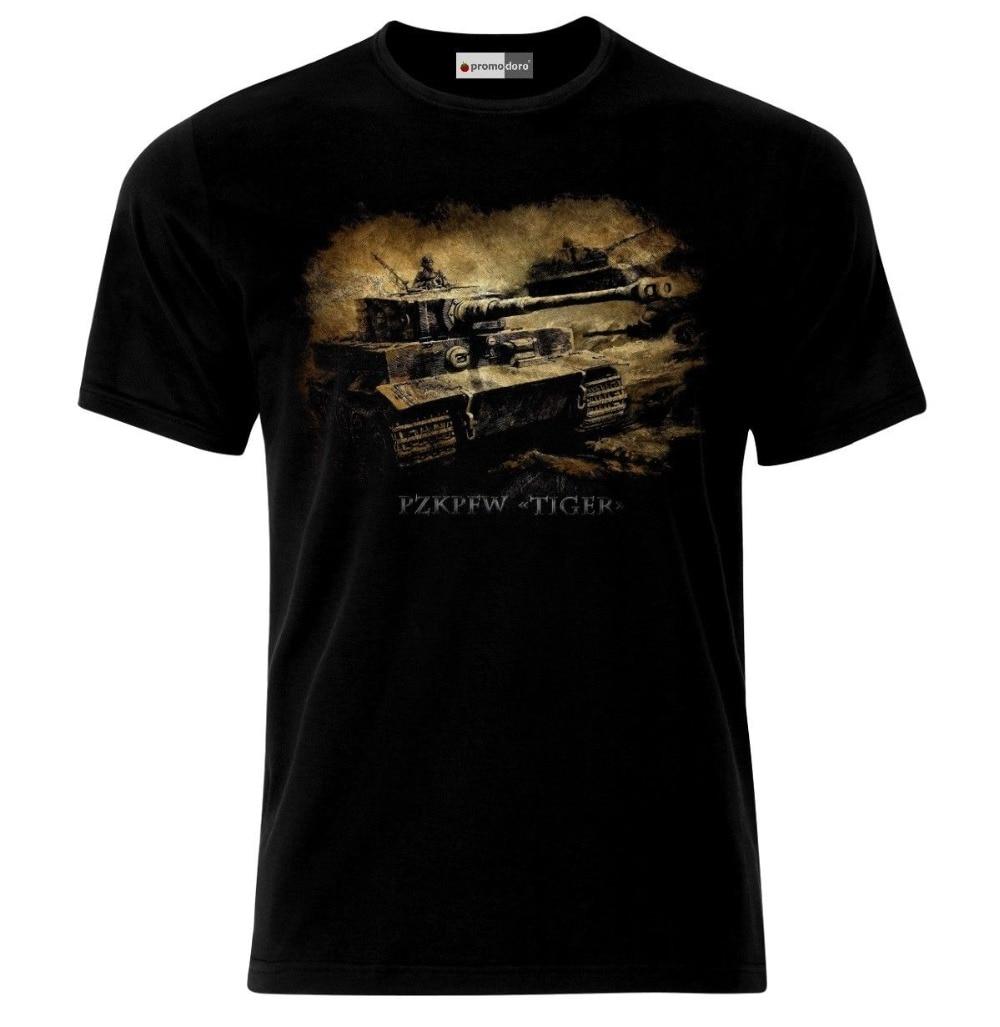 2018 Short Sleeve Cotton Man Clothing Tiger Tank German Army Panzer WW2 Wehrmacht T-Shirt Fashion Classic