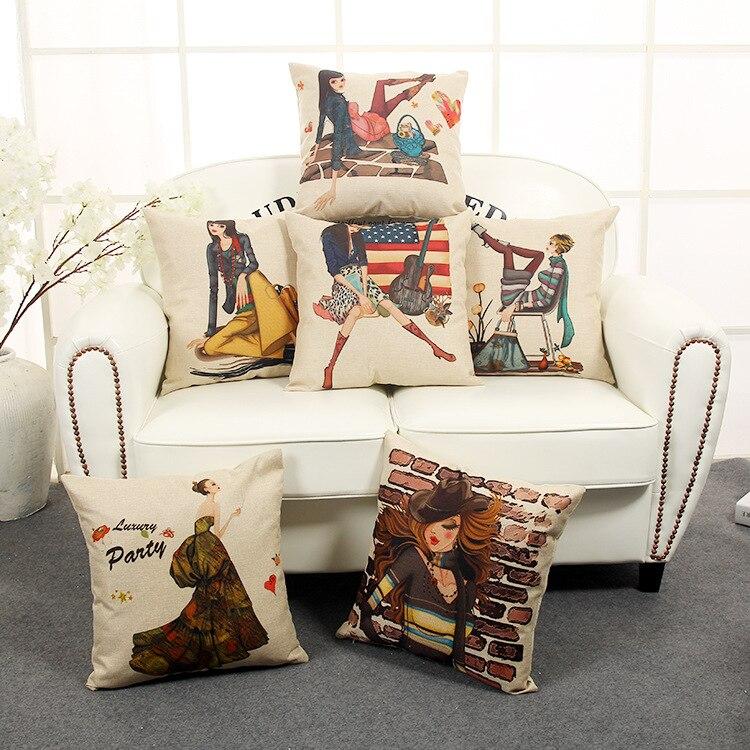 American Cartoon Fashion Girl Pillow For Sofa / Car Cushion Home Decorate  Pillows