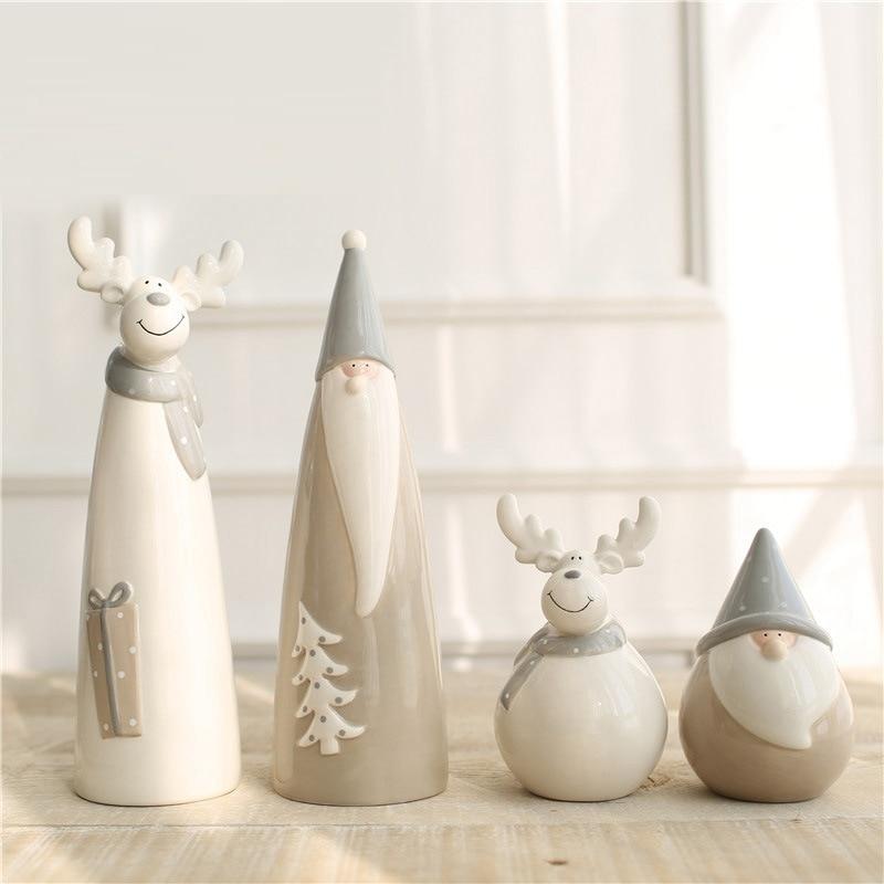 Criativo alce estatueta Papai Noel decoração home Moderna Cerâmica Artesanato Enfeites De Natal Animal Dos Desenhos Animados Único artesanato Presentes