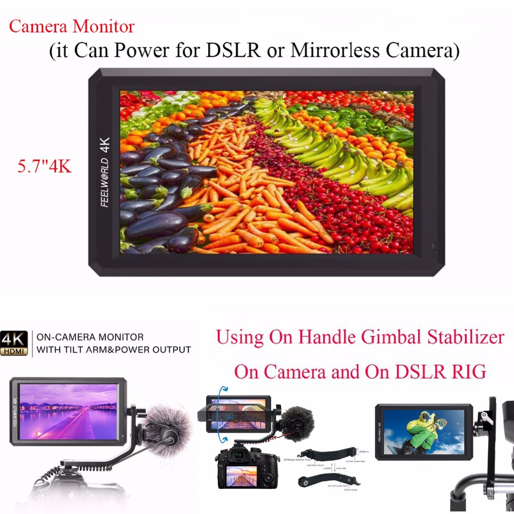 Feelworld F6 5.7 IPS 4K HDMI Camera Monitor for DSLR or Mirrorless Camera it Can Power for DSLR or Mirrorless Camera