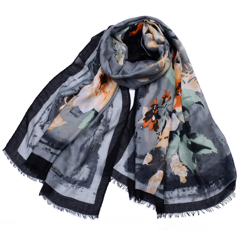 Printe flower   scarf   Fringed   wraps   shawls muslim hijab cotton   scarves   rose floral headband   wraps   islamic   scarves   10pcs/lot