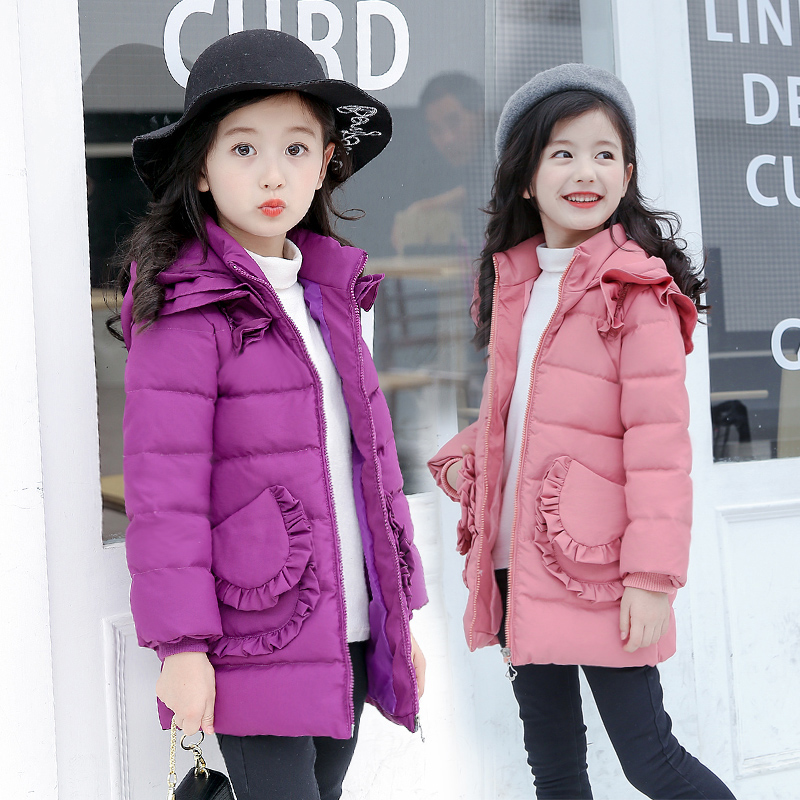 Children's Winter Jackets Girls Cotton Coat 2018 New Fashion Lace Winter Girls Jacket Long Outerwear & Coats Purple Black Pink