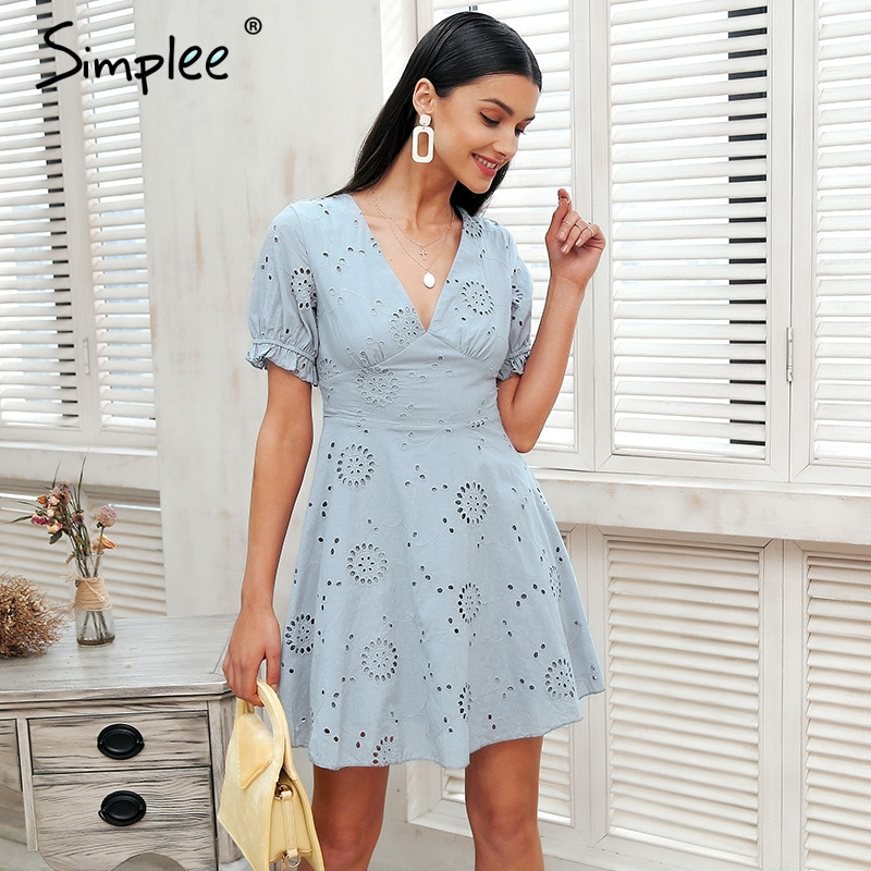Simplee Hollow out embroidery white dress Women v neck streetwear causal dress 2018 Summer style short dress cotton vestidos