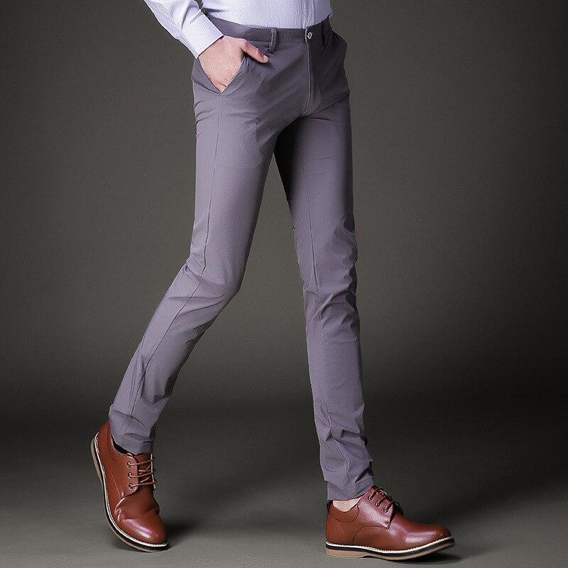 Hommes capri Crayon pantalon pantalon 2018 D'été de Coton mélangé tissu élastique mince petit costume pantalon hommes Skinny cargo pantalon garçons