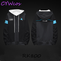 Game Cosplay Detroit: Become Human Connor RK800 Cosplay Costume Daily Hoodies Winter Sweater Fashion Coat Plus Velvet Clothings