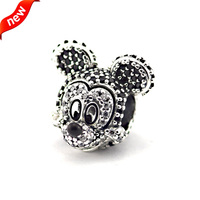 DIY Fits For Pandora Bracelet Sparkling Mickey Portriat Charms 100% 925 Sterling Silver Fashion Jewelry For Women Free Shipping