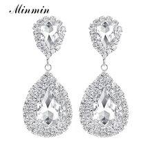 Teardrop Crystal Rhinestone Silver Earrings Bridal Long Drop for Women Wedding accessories