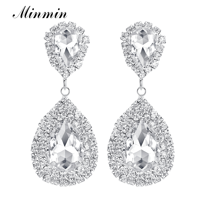 Minmin 6 Färger Teardrop Crystal Long Earrings Silver Rhinestone Bridal Drop Earrings för kvinnor Party Bröllop Smycken EH003