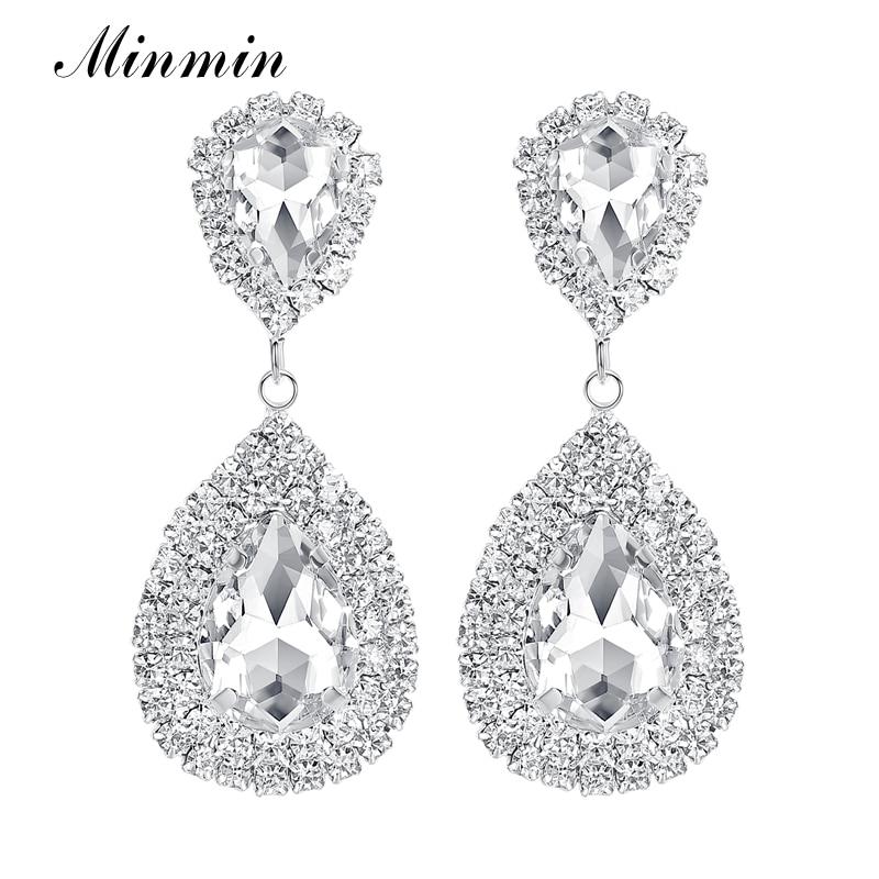 Minmin 6 kolorów Teardrop Crystal Długie kolczyki Srebrne kolczyki Rhinestone Bridal Drop dla kobiet Biżuteria ślubna EH003