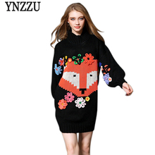 2017 Fall Winter Women Sweater Dress Vintage Lantern Sleeve Fox Flower Print Dresses Knitted Turtleneck Loose Women Dresses A191